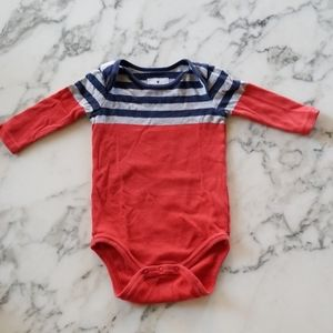 Red/Blue Long Sleeves Bodysuits, Size 3-6 Months